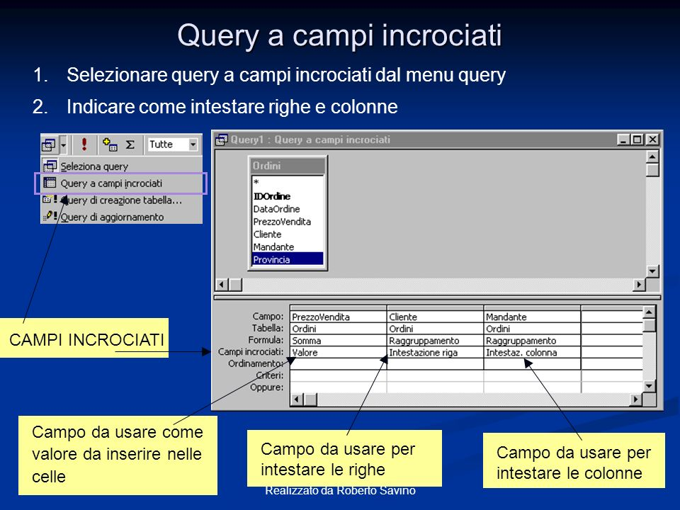 Query a campi incrociati