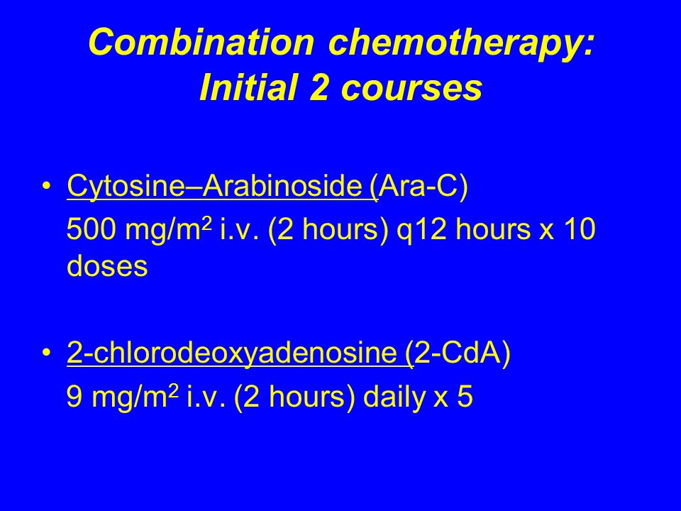 Combination chemotherapy: Initial 2 courses