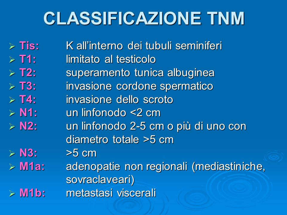 CLASSIFICAZIONE TNM Tis: K all'interno dei tubuli seminiferi