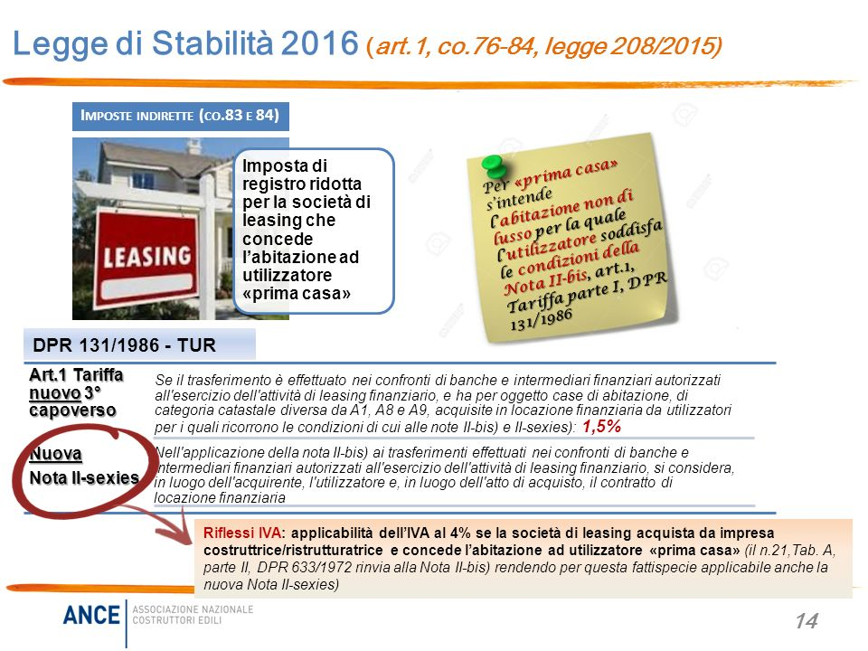 Legge di stabilit 2016 legge 208 2015 novit per casa ed impresa ppt scaricare - Prima casa non pignorabile dalle banche ...